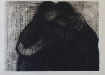 """""""Cuánto tiempo esperé para abrazarte"""", Punta seca, 65 x 50 cm. Seleccionada en La 4ta Bienal de grabado de Rumanía 2017."""