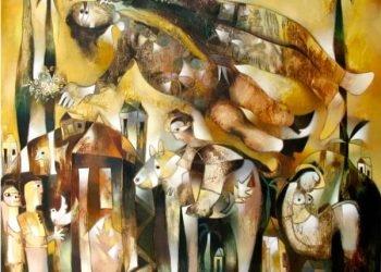 """""""Los guajiros se van al cielo"""", 2007. Acrílico sobre lienzo (200 x 150 cm)"""