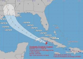 Cono de la posible trayectoria de la tormenta tropical Laura, al mediodía del 24 de agosto de 2020. Infografía: Instituto de Meteorología de Cuba.