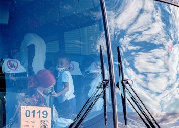 Personas son evacuadas ante la cercanía del huracán Laura, en Lake Charles, Louisiana. Foto: DAN ANDERSON/ EFE/EPA.