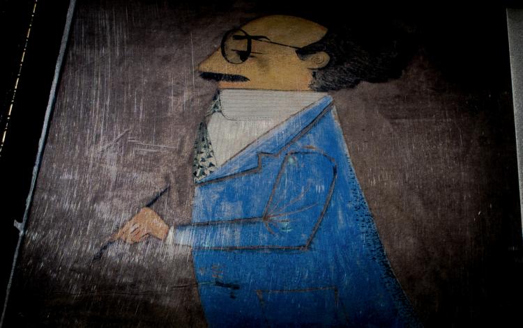 Caricatura de Manuel R. Moreno Fraginals (Fragmento), en Venezuela, años 1950. Autor desconocido. Cortesía de Beatriz Moreno Masó.