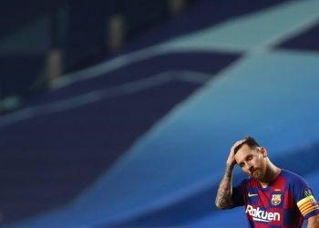 Lionel Messi del Barcelona durante el partido de cuartos de final de la Liga de Campeones contra el Bayern Múnich en el estadio Luz de Lisboa, el viernes 14 de agosto de 2020. Foto: AP/Manu Fernandez/Pool.