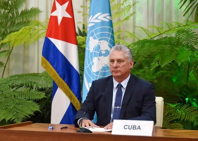 El mandatario cubano Miguel Díaz-Canel, durante su discurso ante la asamblea virtual de la ONU. Foto: presidencia.gob.cu