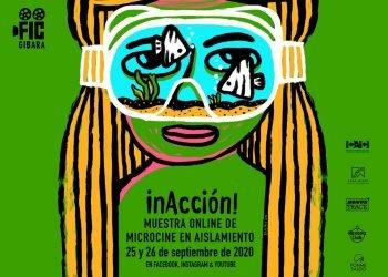 """Cartel de """"inAcción! Muestra online de microcine en aislamiento"""". Infografía: ficgibara.com"""