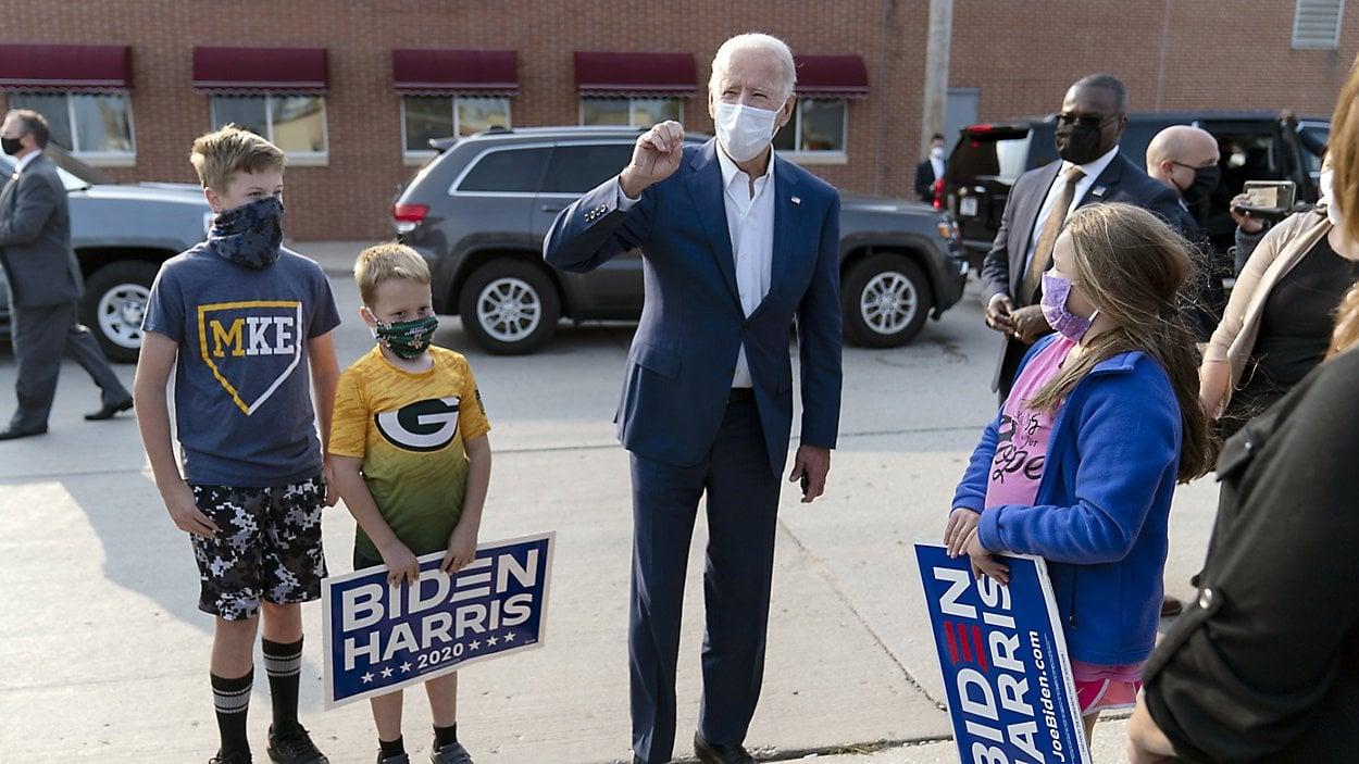 Biden in Wisconsin. Photo: Carolyn Kaster/AP.