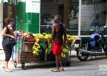 Un vendedor ambulante de productos agrícolas en La Habana, durante la desescalada post COVID-19. Foto: Otmaro Rodríguez.