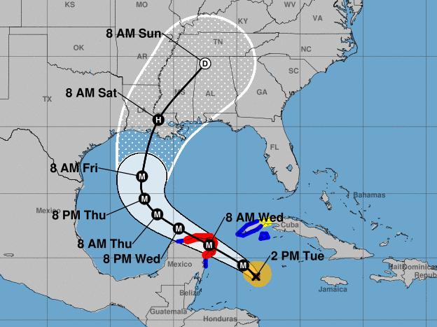 El huracán Delta pasará sobre parte de la península de Yucatán antes de dirigirse hacia la costa del Golfo, donde se prevé que toque tierra en la costa de Louisiana a fines de esta semana. Foto: Servicio Meteorológico Nacional