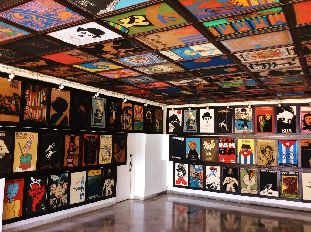 Interior of ICAIC, Exhibition of Cuban movie posters. Photo: Archive