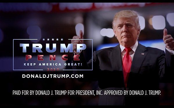 Segmento final de un anuncio político televisivo de Donald Trump. Foto: Media Post.