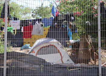 Fotografía de un campamento de migrantes el 23 de octubre de 2020, en la ciudad de Matamoros, en el estado de Tamaulipas (México). Foto: Abraham Pineda-Jacome / EFE.