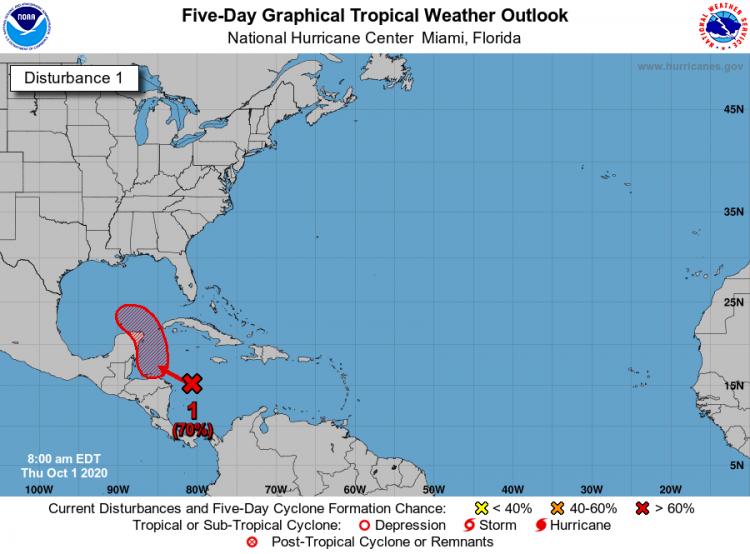 El área se mueve generalmente hacia el noroeste y muestra cada vez mejor organización. Imagen: twitter.com/NHC_Atlantic