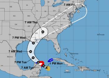 Cono de trayectoria del huracán Zeta. Gráfico: nhc.noaa.gov
