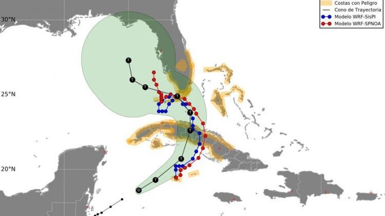 Cono de la posible trayectoria de la tormenta tropical Eta, según los pronósticos meteorológicos del sábado 7 de noviembre de 2020 a las 12:00 M (hora de Cuba). Infografía: ACN.