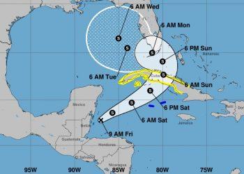 Cono de la posible trayectoria de depresión tropical Eta. Infografía: nhc.noaa.gov