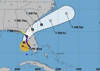 Cono de la posible trayectoria de tormenta tropical Eta, según los pronósticos meteorológicos del miércoles 11 de noviembre de 2020 a las 1:00 PM (hora de Cuba). Infografía: nhc.noaa.gov