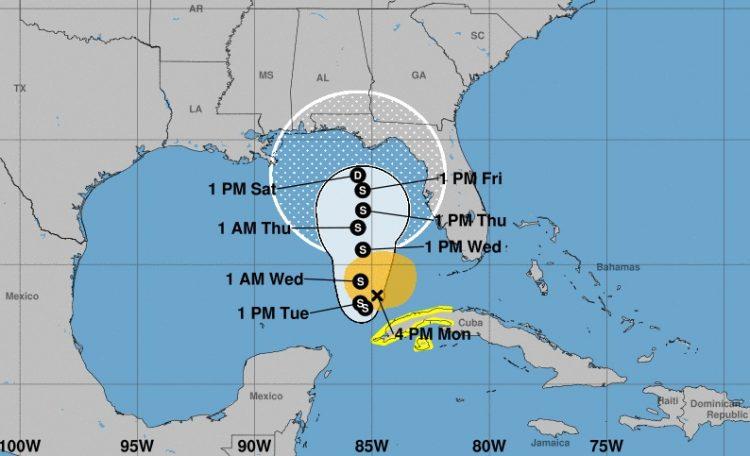 Cono de la posible trayectoria de tormenta tropical Eta, según los pronósticos meteorológicos del lunes 9 de noviembre de 2020 a las 4:00 PM (hora de Cuba). Infografía: nhc.noaa.gov