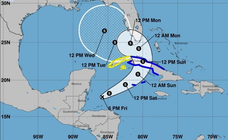 Cono de la posible trayectoria de depresión tropical Eta, según los pronósticos meteorológicos del viernes 6 de noviembre de 2020 a las 6:00 PM (hora de Cuba). Infografía: nhc.noaa.gov