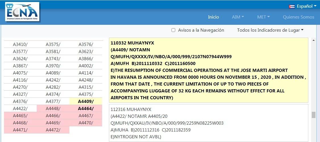Captura de pantalla del Notam A4409 de la Empresa Cubana de Navegación Aérea (ECNA).