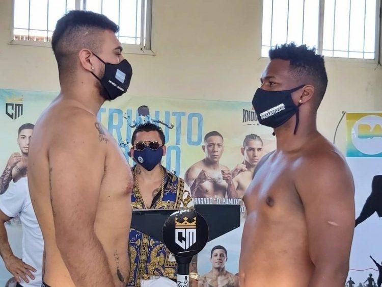 Lenier Peró (derecha) logró vencer al argentino Jorge Arias este viernes y se agenció el título regional de la AMB. Foto: Tomada del Twitter de Farid Maggiori.
