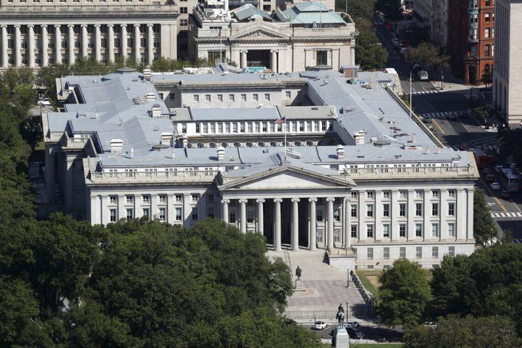 Esta fotografía del miércoles 18 de septiembre de 2019, muestra el edificio del Departamento del Tesoro en Washington. Foto: AP/Patrick Semansky/ Archivo.