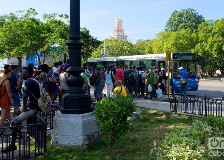 Personas en una parada de ómnibus urbanos en el Parque de la Fraternidad, en La Habana. Foto: Otmaro Rodríguez.