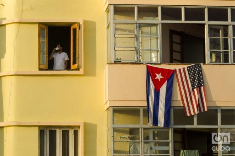 Edificio colindante con la embajada de EEUU en La Habana, foto tomada el día de la ceremonia de inauguración el 14 de agosto de 2015. Foto: Alain Gutiérrez