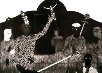 Belkis Ayón, La familia, 1991, colografía, 138 x 250 cm, 6 partes - La Habana