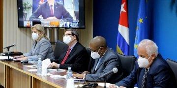 III Consejo Conjunto entre Cuba y la Unión Europea (UE), celebrado en formato virtual el miércoles 20 de enero de 2021. Foto: @CubaMINREX / Twitter.