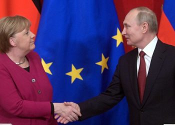 Merkel y Putin se saludan. Foto: mundo.sputniknews.com/