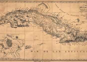 Mapa de Cuba compuesto por los estudios de Alejandro de Humboldt. Imagen de bdh.bne.es