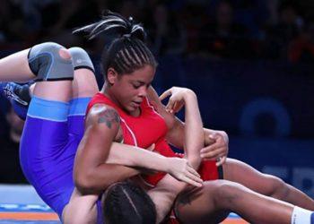 La luchadora cubana Yudaris Sánchez en un combate. Foto: Juventud Rebelde / Archivo.