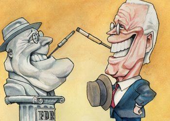 Franklin Delano Roosevelt  y Joe Biden. Caricatura de Kal (The Economist).