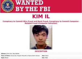 Este cartel del Departamento de Justicia de EEUU muestra a Kim Il, buscado como miembro de un organismo de inteligencia militar norcoreano y hackers al servicio del régimen. Foto: Departamento de Justicia via AP.