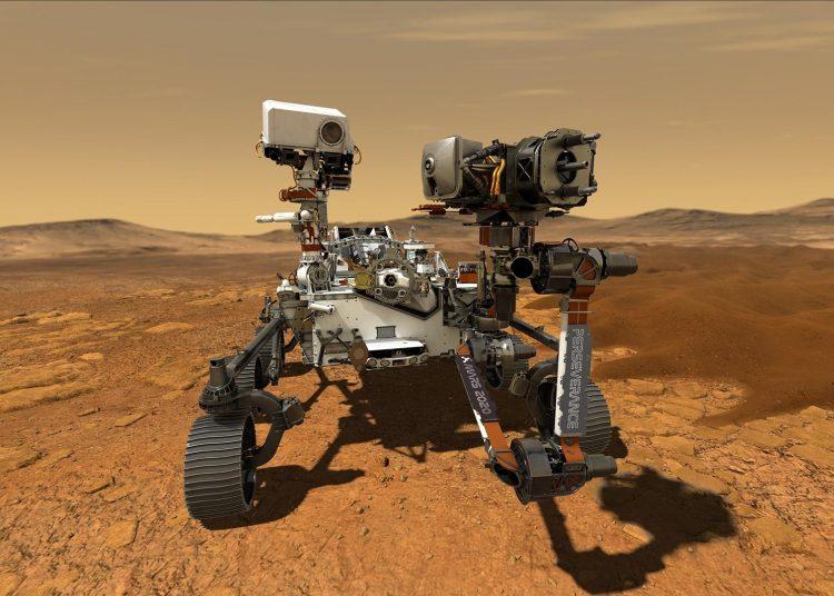 Percy, que es el apodo del explorador, en suelo de Marte. Foto: NASA.