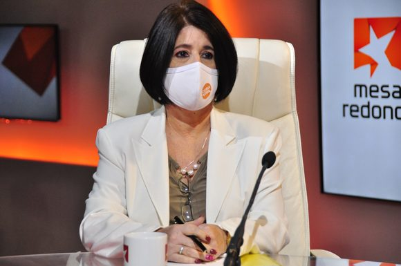 Marta Elena Feitó, ministra cubana de Trabajo y Seguridad Social. Foto: Mesa Redonda.
