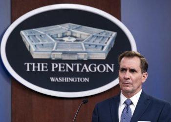 En esta imagen del miércoles 17 de febrero de 2021, John Kirby, portavoz del Pentágono, da un informe de prensa en el Pentágono. Foto/Alex Brandon/AP.