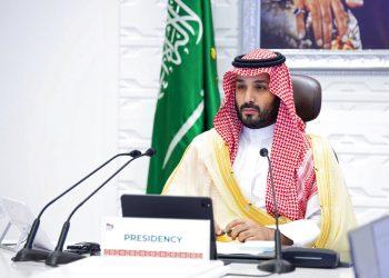 El príncipe heredero de Arabia Saudí, Mohamed bin Salman, participa en una cumbre virtual del G20, en Riad, Arabia Saudí. Foto: Bandar Aljaloud/Palacio Real Saudí vía AP, archivo.