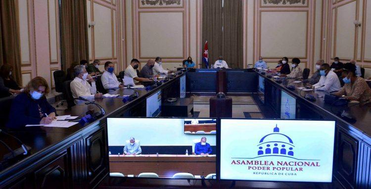 Sesión del Consejo de Estado de la República de Cuba, el martes 16 de febrero de 2021. Foto: Asamblea Nacional Cuba / Twitter.