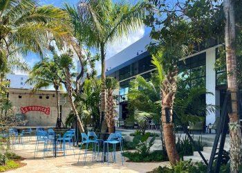 Fotografía sin fecha cedida por la Cervecería La Tropical donde se muestra el jardín tropical del local ubicado en Wynwood, el barrio más bohemio de la ciudad de Miami, Florida (EE.UU.). Foto: EFE/Cervecería La Tropical.