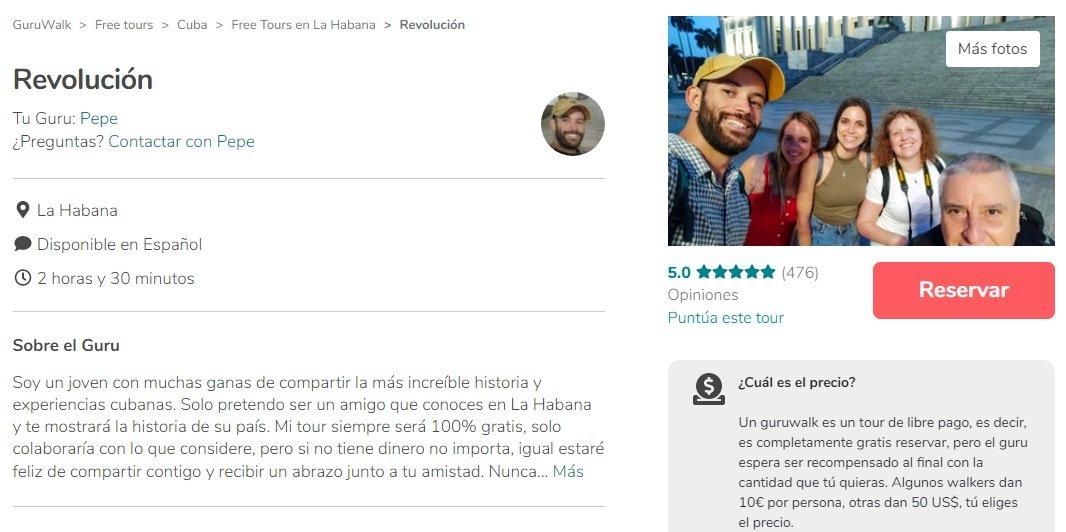 Captura de pantalla del free tour de José Enrique González, Pepe, en la plataforma GuruWalk.