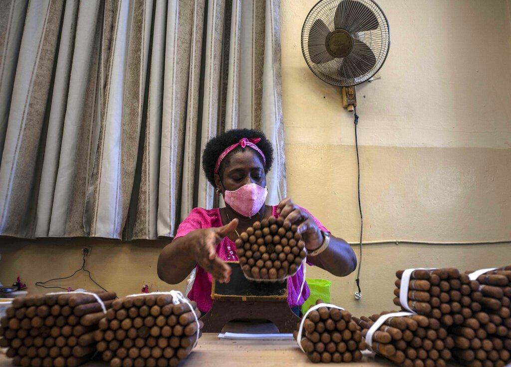 Una trabajadora revisa la calidad de los puros en la fábrica de puros Partagás en La Habana. Foto: AP/Ramón Espinosa.