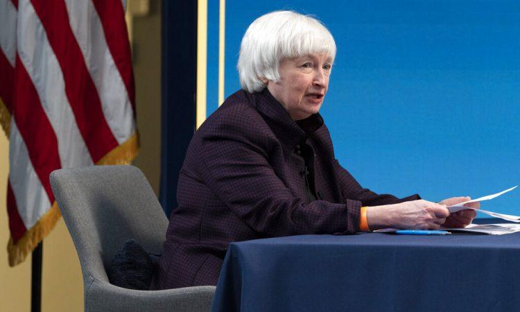 En esta foto de archivo del 5 de febrero de 2021, la secretaria del Tesoro de EEUU, Janet Yellen participa en una mesa redonda, en Washington. Foto: Jacquelyn Martin/ AP.