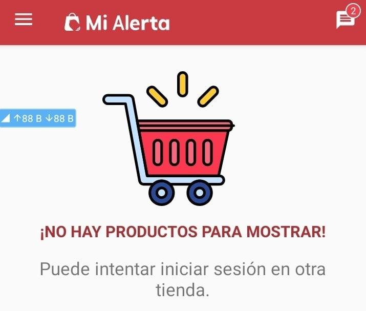 Captura de pantalla de la app Mi alerta, que permite hacer compras en las tiendas virtuales cubanas.