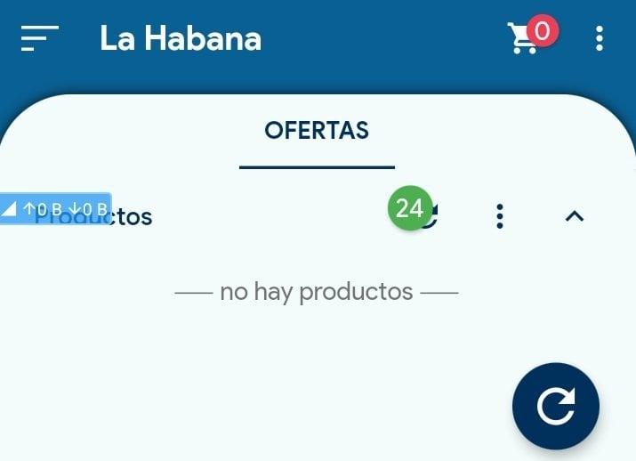 Captura de pantalla de la app Comprando en Cuba, que permite hacer compras en las tiendas virtuales cubanas.