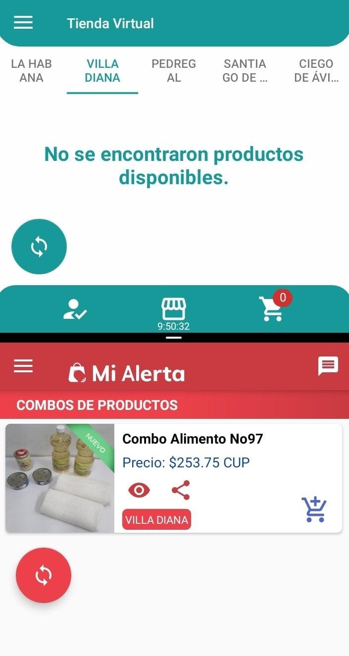 Captura de pantalla en un mismo teléfono móvil de las apps En Línea y Mi alerta, que permiten hacer compras en las tiendas virtuales cubanas.