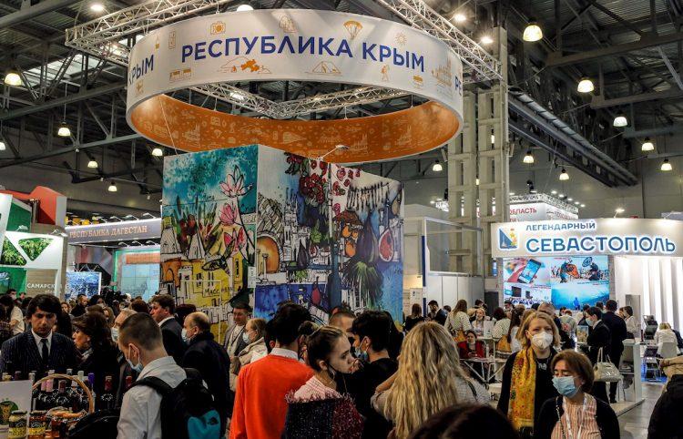 Pabellón de la República de Crimea en la 27ª Feria Internacional de Viajes y Turismo MITT. Foto: SERGEI ILNITSKY/EFE/EPA.