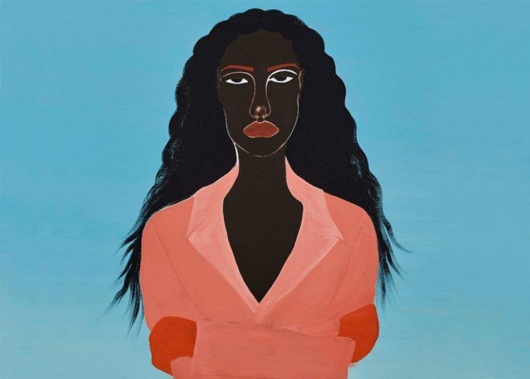 "Obra de Delphine Desane ""Journeyin to Utopia"" I 2020.  Acrílico sobre lienzo, 100 x 80 cm (Detalle)"