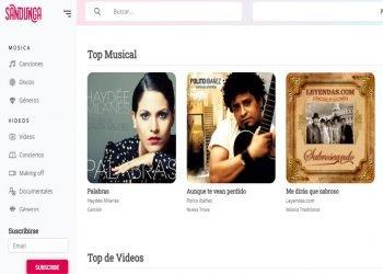 Captura de pantalla del sitio Sandunga.