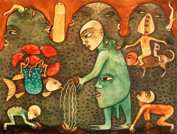 """Manuel Mendive, """"Mito de la creación"""" (1985). Colección Nercys y Ramón Cernuda."""