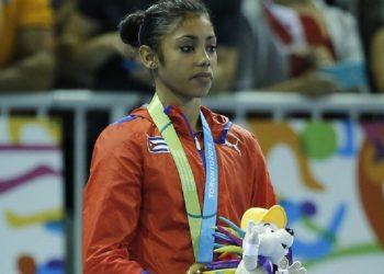 Marcia Videaux, única gimnasta cubana que estará en Tokio. Foto: José Méndez/Efe/Archivo.